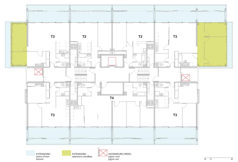 Etage courant rénové - © Agence Lacaton & Vassal