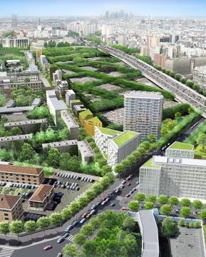 La rue Rébière, vue de la Porte Pouchet, avec au premier plan la Tour Bois-le-Prêtre dont je vous parlerai dans un prochain article