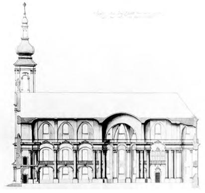 Coupe sur le projet de Neumann. On remarque la coupe à la croisée du transept, au-dessus du lieu d'apparition des 14 intercesseurs.