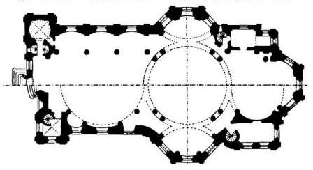 Comparaison entre le projet de Neumann (une seule coupole au-dessus de l'autel des 14 Intercesseurs) et son interprétation par Heinrich Krohne.