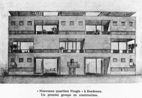 Projet d'immeuble d'entrée pour les Quartiers Modernes Frugès à Pessac (1925) © Fondation Le Corbusier - Paris